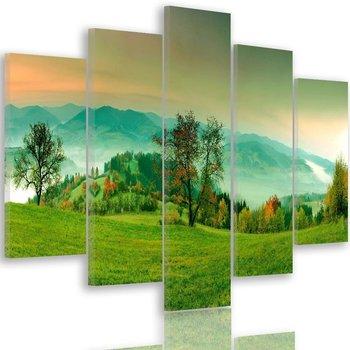 Obraz na płótnie Canvas FEEBY, pentaptyk typ A, Wzgórza z jesiennymi drzewami 4, 100x70 cm-Caro