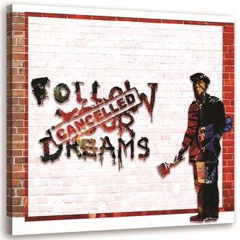 Obraz na płótnie FEEBY Banksy street art graffiti mural Dreams, 50x50 cm-Feeby