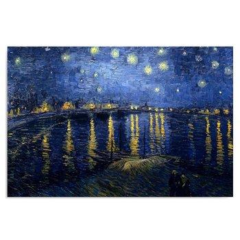 Obraz na płótnie FEEBY Canvas, Reprodukcja obrazu V. van Gogha: Gwiaździsta noc nad Rodanem, 50x70 cm-Feeby