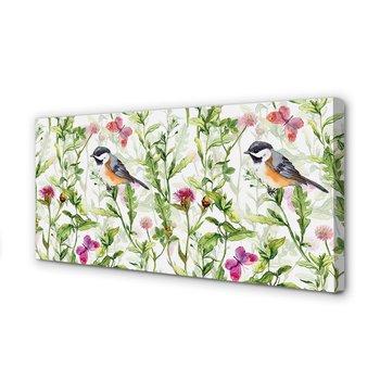 Obraz na płótnie TULUP Malowany ptak w trawie 100x50 cm-Tulup