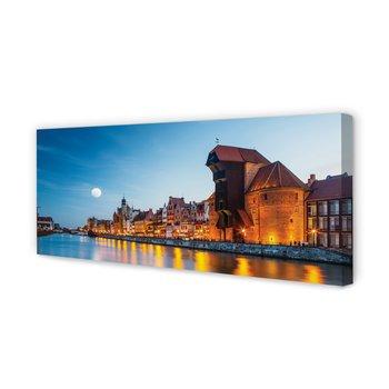 Obraz płótno TULUP Gdańsk Rzeka noc stare miasto, 125x50 cm-Tulup