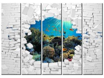 Obraz Ściana z morskim widokiem, 5 elementów, 225x160 cm-Oobrazy