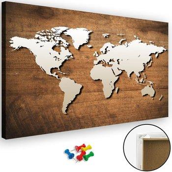 Obraz tablica korkowa FEEBY, Mapa świata na drewnianej desce, 120x80 cm-Caro
