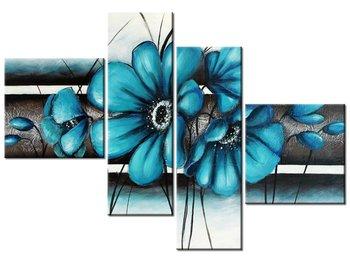 Obraz Turkusowe kwiaty, 4 elementy, 100x70 cm-Oobrazy