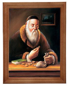 Obraz w drewnianej ramie, 18x24 cm- Sakiewka żyd, Marian Kaszuba-Postergaleria