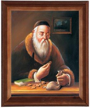 Obraz w drewnianej ramie, 24x30 cm- Sakiewka żyd, Marian Kaszuba-Postergaleria