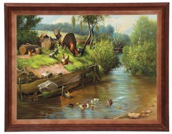 Obraz w drewnianej ramie, 30x40 cm- Podwórze nad rzeką, Adam Lis-Postergaleria