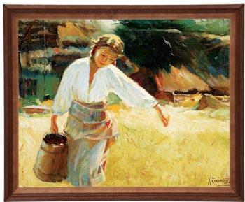 Obraz w drewnianej ramie, 40x50 cm- Dziewczyna z dzbanem, Apoloniusz Kędzierski-Postergaleria