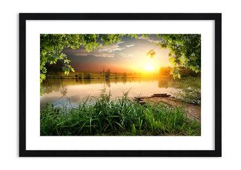 Obraz w ramie ARTTOR Pejzaż w zielonej ramie - pomost drzewa rzeka, F1BAA70x50-3914, 70x50 cm-ARTTOR