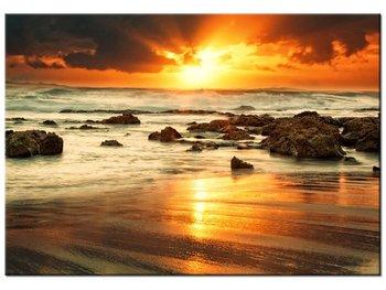 Obraz, Wschód słońca nad wzburzonym oceanem, 100x70 cm-Oobrazy