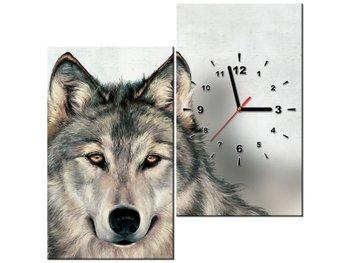 Obraz z zegarem, Wilk, 2 elementy, 60x60 cm-Oobrazy