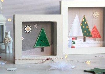 Obrazki z choinkami - wykonaj je w  scenerii zimowego lasu