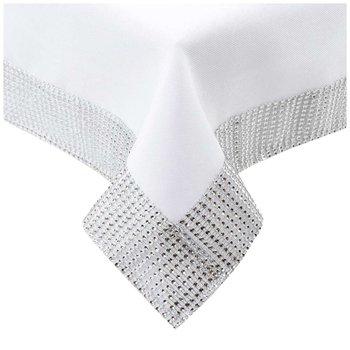 Obrus 140x300 Plamoodporny Diament Cyrkonia Biały - 140x300-Lozkoholicy.pl
