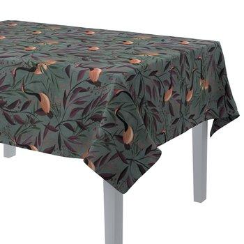 Obrus prostokątny, kolorowe czaple na szaro-zielonym tle, 130 × 130 cm, Abigail-Dekoria