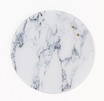 Okrągła szklana tablica suchościeralno-magnetyczna NAGA, średnica 35 cm, marmur