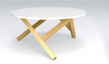 Okrągły stolik kawowy ELIOR Inelo L14, biało-brązowy, 80x80x39 cm-Elior