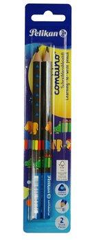 Ołówek trójkątny gruby, Combino, B, niebieski, 2 sztuki-Pelikan