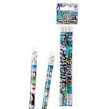 Ołówek z gumką Graffiti zestaw 4szt  STARPAK (447735)-Starpak