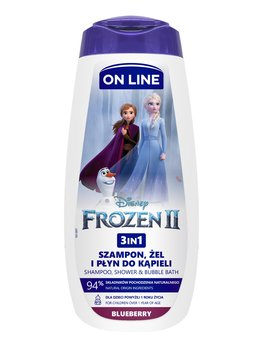 On Line, Disney, Frozen II, Żel pod prysznic dla dzieci, Blueberry, 3w1, 400 ml-On Line