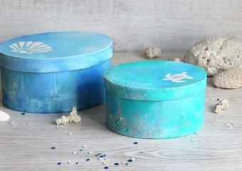 Ozdób pudełka na podobieństwo błękitnej laguny