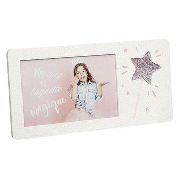 Ozdobna ramka na zdjęcia GLITTER, biała z gwiazdą-Atmosphera for kids
