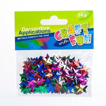 Ozdoby Confetti metaliczne, gwiazdki wypukłe-Craft With Fun