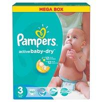 Pampers, Active Baby-Dry, Mega Box, Pieluchy jednorazowe rozmiar 3, Midi, 4-9 kg, 150 szt.