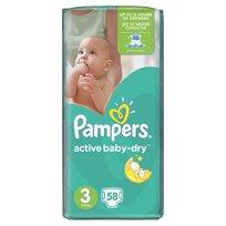 Pampers, Active Baby Dry, Pieluszki jednorazowe, rozmiar 3, Midi, 58 szt.