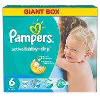 Pampers, Active Baby-Dry, Pieluszki jednorazowe, rozmiar 6, Extra Large, 66 szt.