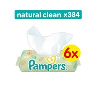 Pampers, Natural Clean, Chusteczki nawilżane, Sextet, 6x64 szt.