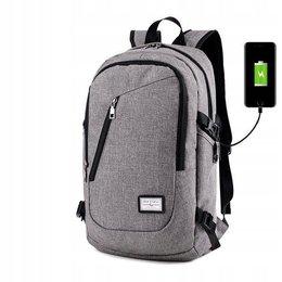 Pan i Pani Gadżet, Plecak z antykradzieżowym portem USB, szary, 20L