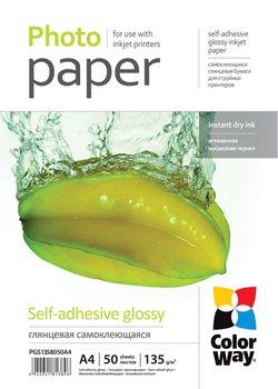 Papier Fotograficzny ColorWay Samoprzylepny Błyszczący A4 135g 50 szt-ColorWay