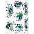 Papier ryżowy ITD A4 R1731, niebieskie kwiaty-ITD Collection