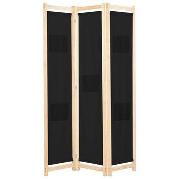 Parawan 3-panelowy, czarny, 120x170x4 cm, tkanina-vidaXL