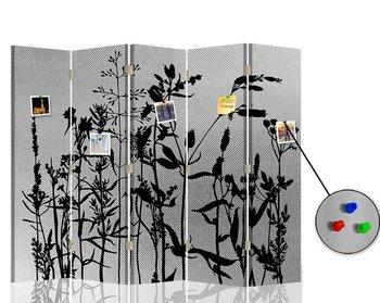 Parawan pokojowy korkowy srebrny FEEBY, Polne kwiaty, 180x175 cm-Feeby