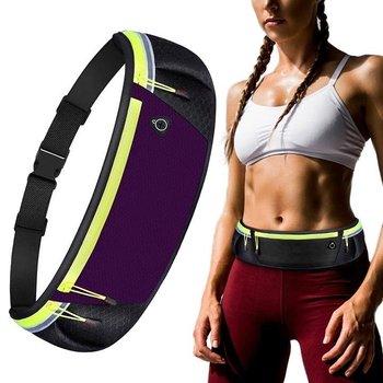 Pas do biegania odblaskowy / nerka na telefon klucze dokumenty z wyjściem na słuchawki fioletowy-Hurtel