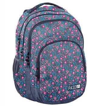 Paso, plecak młodzieżowy, kwiatki, niebieski-Paso