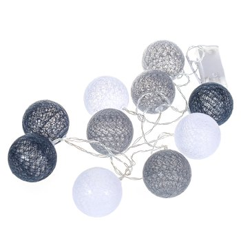 PEPCO Łańcuch LED 10 kul Biało-czarno-szare-Pepco