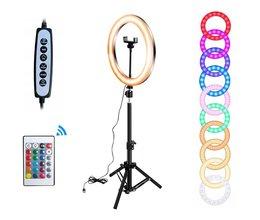 Pierścieniowa lampa LED RGB CCT do selfie / makijażu + STATYW