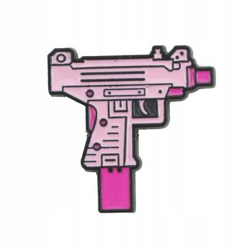 Pistolet maszynowy Girl Power różowa przypinka-Pinets