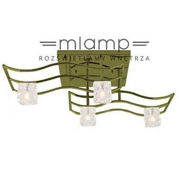 Plafon LAMPA sufitowa KOSTKI 585-4 Gajt metalowa OPRAWA halogenowa kryształki patyna-Outlet