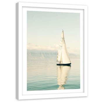 Plakat dekoracyjny w ramie białej, Morze żaglówka spokojna pogoda - Plakat w ramie białej - 40x60-Feeby