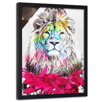 Plakat dekoracyjny w ramie czarnej FEEBY Portret lew abstrakcja, 40x60 cm-Feeby