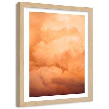 Plakat dekoracyjny w ramie naturalnej FEEBY Oświetlone zachodzącym słońcem chmury, 30x40 cm-Feeby