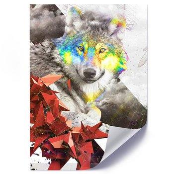 Plakat FEEBY Abstrakcja geometryczna wilk, 50x70 cm-Feeby