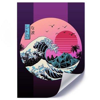 Plakat FEEBY Fala tsunami anime, 50x70 cm-Feeby