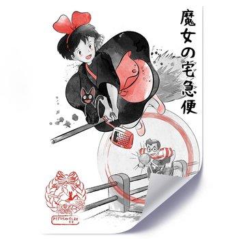 Plakat FEEBY Japońska czarownica z czarnym kotem, 70x100 cm-Feeby