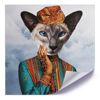 Plakat FEEBY Kobieta z głową kota, 80x80 cm-Feeby