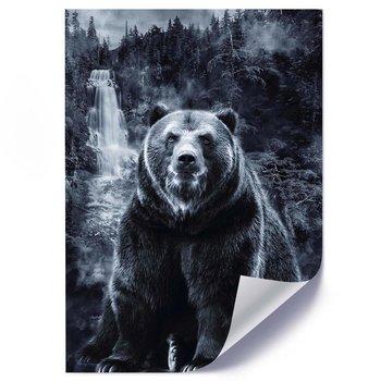 Plakat FEEBY Niedźwiedź i wodospad, 50x70 cm-Feeby