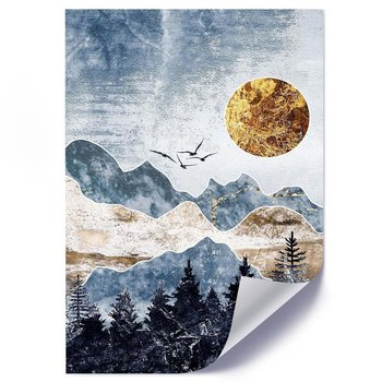 Plakat FEEBY Złoty księżyc i góry, 50x70 cm-Feeby